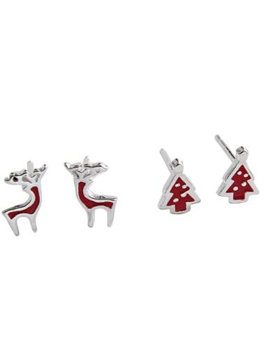 925 Sterling Silver Red Enamel Tree Minimalist Stud Earring