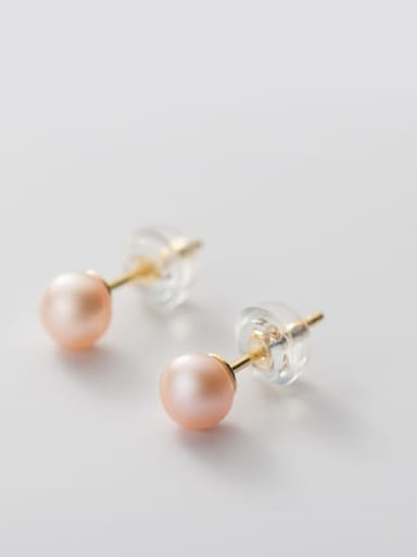 925 Sterling Silver Freshwater Pearl  Round Minimalist Stud Earring
