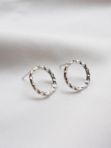 925 Sterling Silver Round Minimalist Stud Earring
