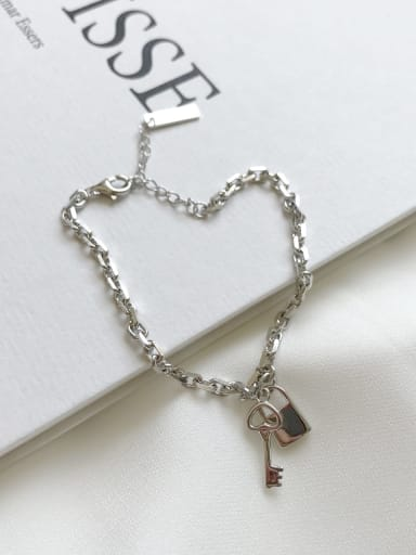 925 Sterling Silver key Locket Vintage Link Bracelet