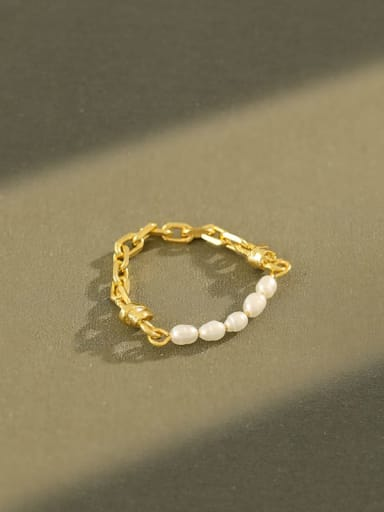 925 Sterling Silver Freshwater Pearl Geometric chain Minimalist Ring