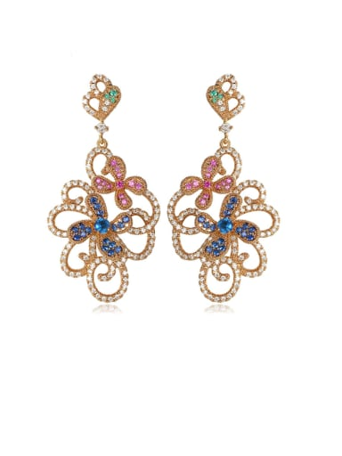 Copper Cubic Zirconia Flower Luxury Chandelier Earring