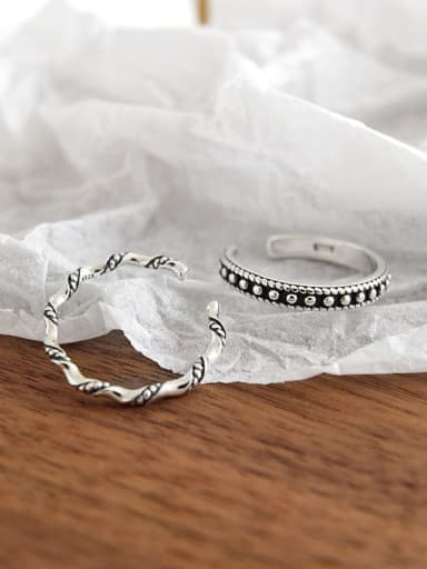 S925 Sterling Silver Vintage Round Bead Twist Wave Free Size Ring