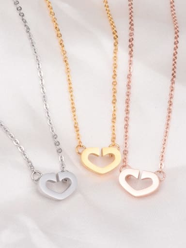 Titanium Smooth Hollow Heart Necklace
