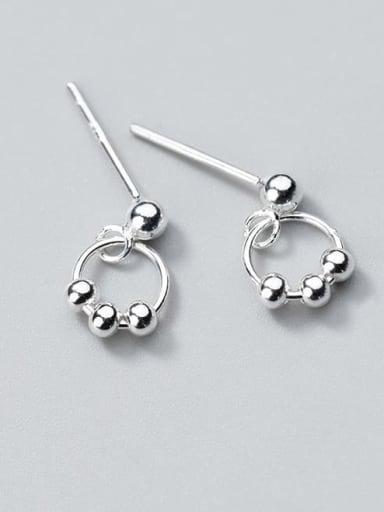925 Sterling Silver Bead Geometric Minimalist Stud Earring