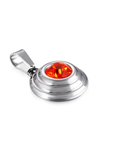 Red Stainless Steel Round Glass Stone Multi Color Minimalist Pendant
