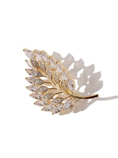 sliver+white Copper Cubic Zirconia White Leaf Dainty Brooches