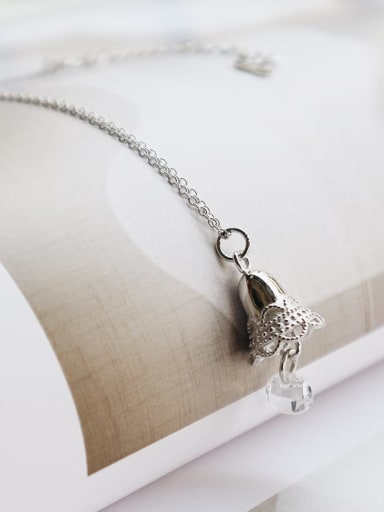 925 Sterling Silver zircon bell necklac