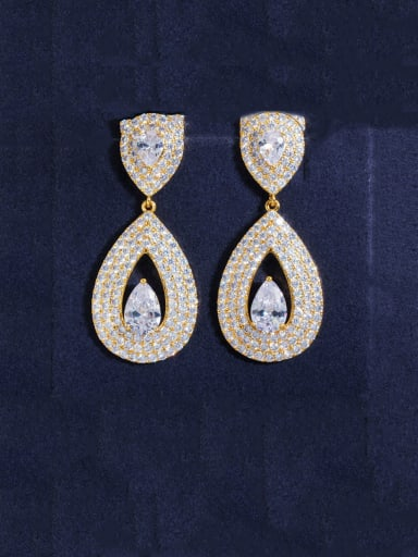 gold Copper With Gold Plated Luxury Water Drop Cluster Earrings
