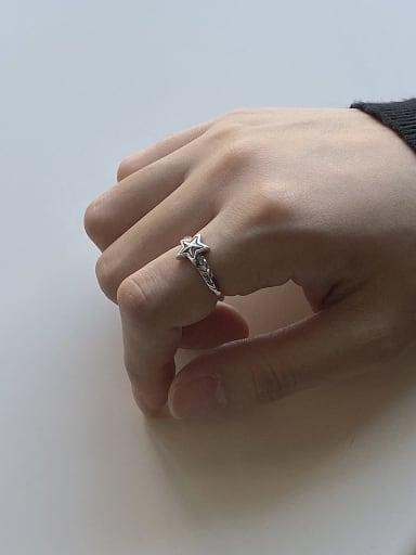 925 Sterling Silver Star Minimalist Free Size  Midi Ring