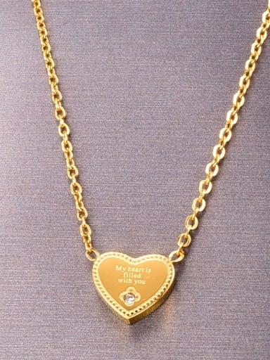 Titanium Rhinestone Letter Minimalist heart Pendant Necklace