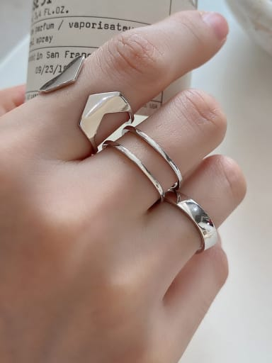 925 Sterling Silver  Minimalist Inclined Double  Free Size  Ring