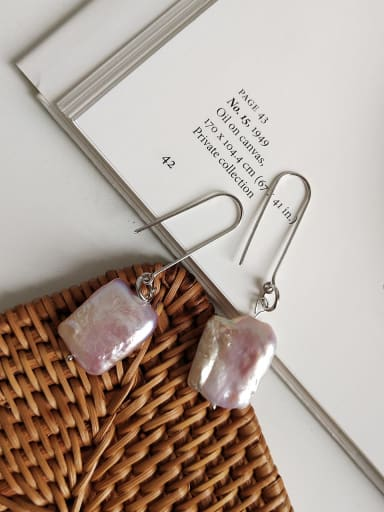 925 Sterling Silver Resin Multi Color Geometric Minimalist Hook Earring