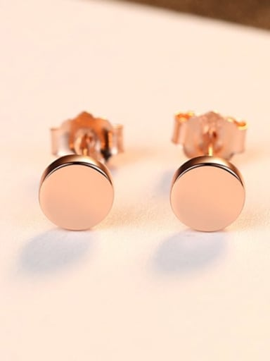 Rose gold 17e02 925 Sterling Silver Round Minimalist Stud Earring