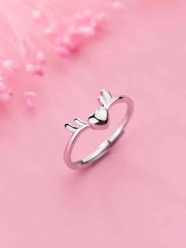 925 Sterling Silver Deer Minimalist Free Size Ring