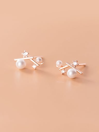 925 Sterling Silver Imitation Pearl White Irregular Minimalist Stud Earring