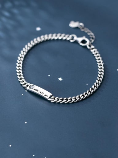 925 Sterling Silver Vintage Chain smiley face lettering square card Link Bracelet