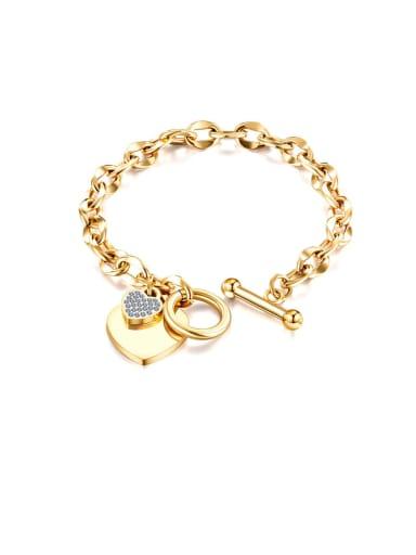 1012 [gold] Titanium Rhinestone White Heart Minimalist Link Bracelet