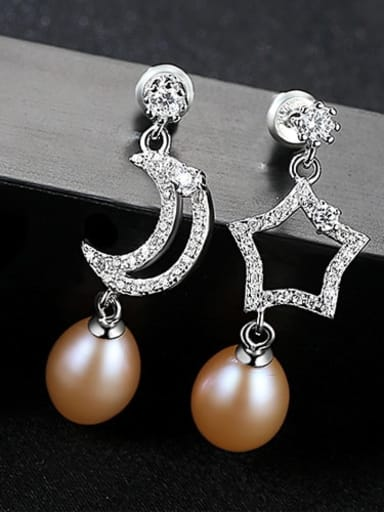 Pink 1G02 925 Sterling Silver Freshwater Pearl White Star Moon Trend Drop Earring