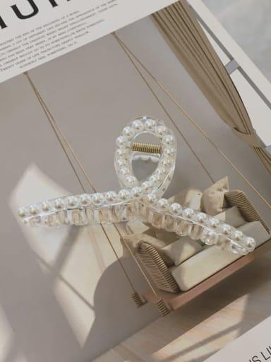 transparent color Cellulose Acetate Minimalist Geometric Imitation Pearl Jaw Hair Claw