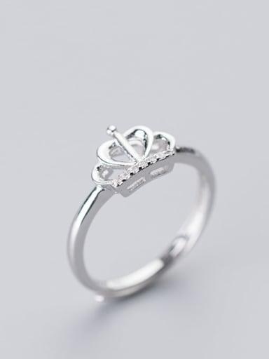 925 Sterling Silver Rhinestone Crown Minimalist Free Size Ring