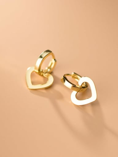 925 Sterling Silver  Minimalist Hollow  Heart Clip On Earrings