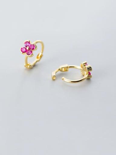 925 Sterling Silver Cubic Zirconia Multi Color Flower Minimalist Huggie Earring