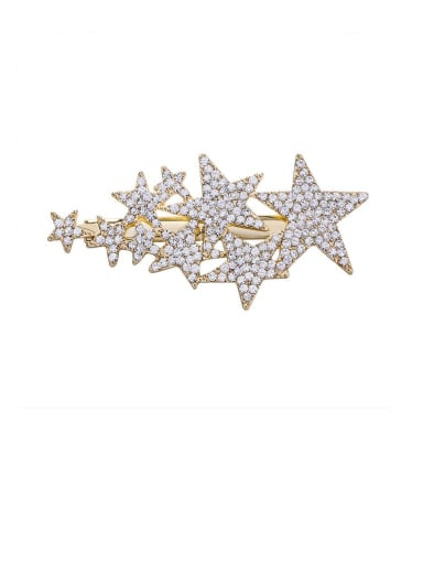 A gold Zinc Alloy Rhinestone White Star Statement Barrettes & Clips