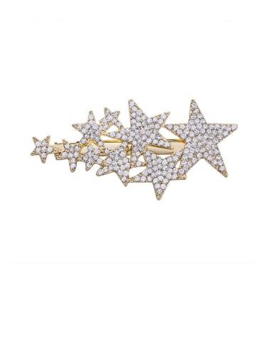A gold Zinc Alloy Rhinestone White Star Statement Barrettes & Clips