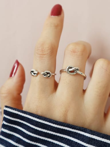 925 Sterling Silver Double Knot Vintage Free Size Band Ring