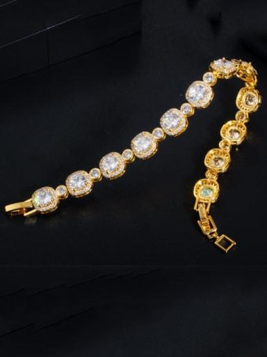 Copper Cubic Zirconia Geometric Dainty Bracelet