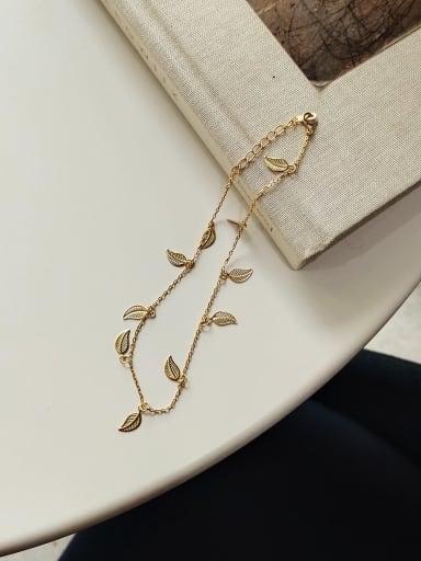 925 Sterling Silver Minimalist Leaf  Anklet