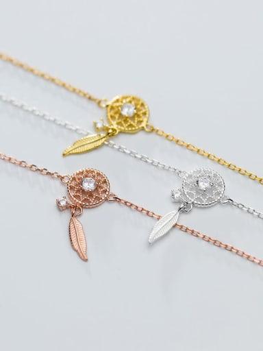 925 Sterling Silver Trend Hollow diamond leaves Bracelet