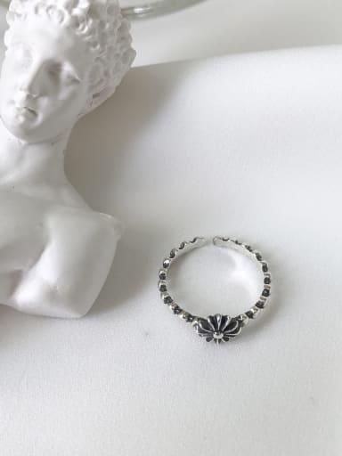 Flower J100 925 Sterling Silver Cross/flower Vintage Geeky Ring
