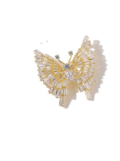 gold white Copper Cubic Zirconia White Butterfly Cute Brooches