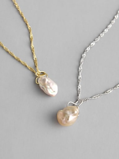 925 Sterling Silver Imitation Pearl Necklace