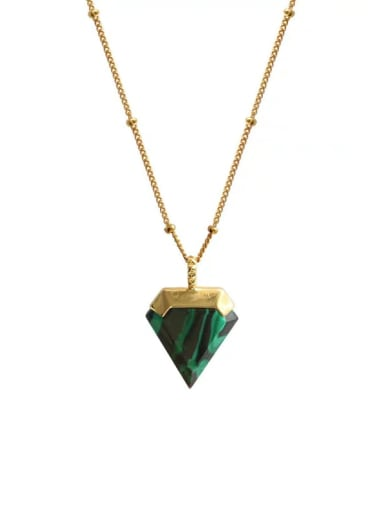 Copper Triangle  Minimalist  Glass Stone  Necklaces