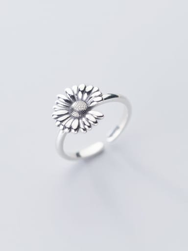 925 Sterling Silver Flower Vintage Free Size Band Ring