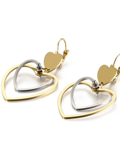 gold platinum Stainless Steel Hollow  Heart Minimalist Hook Earring