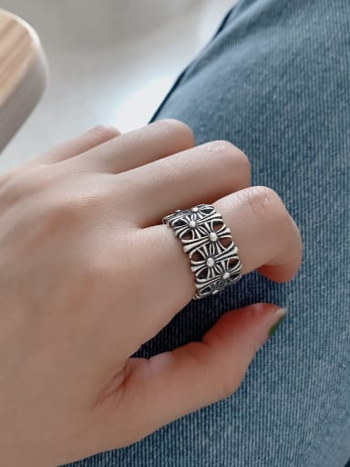 925 Sterling Silver Cross Vintage Band Ring