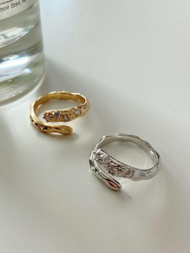 925 Sterling Silver Irregular Diamond Ring Vintage Free Size Ring