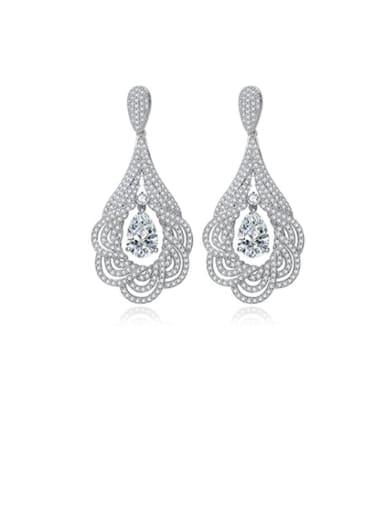 Copper Cubic Zirconia Luxury Water Drop  Flower Cluster Earring
