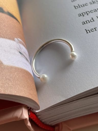 925 Sterling Silver Imitation Pearl smile free size Ring