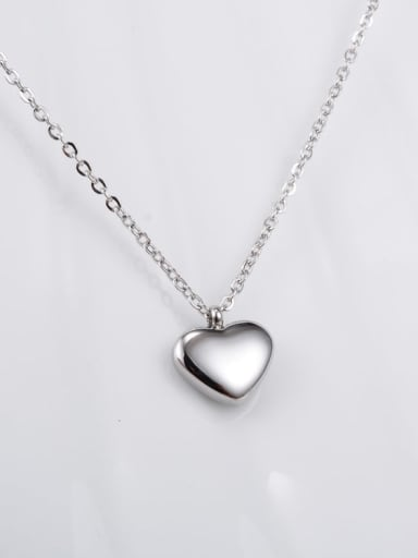 slivery Titanium Smooth Heart Minimalist Choker Necklace