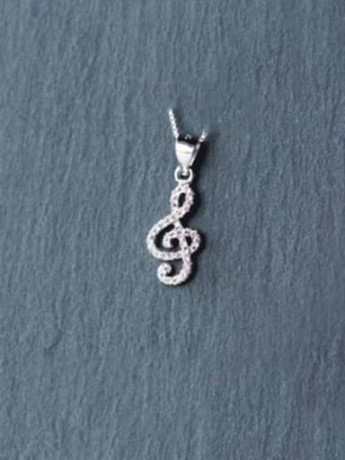925 Sterling Silver Simple fashion full diamond notes pendant Necklace