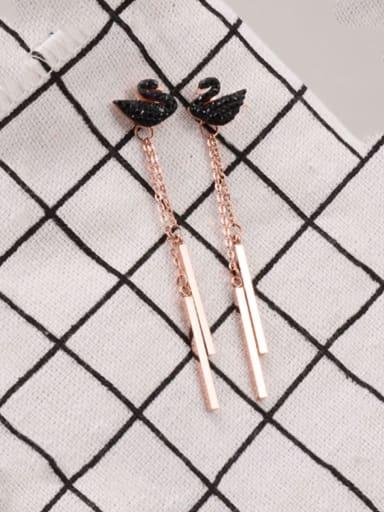 Titanium Rhinestone White Swan Trend Threader Earring