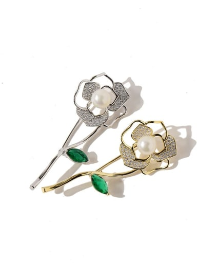 Copper Cubic Zirconia White Rosary Dainty Brooches