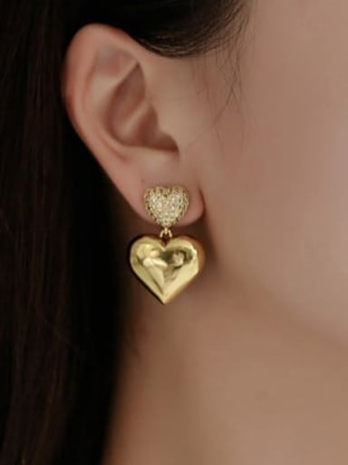 Heart Shaped Earrings Copper Vintage Heart  Earring and Necklace Set