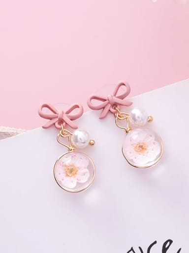 A Pink Bow Zinc Alloy Imitation Pearl Multi Color Enamel Bowknot Cute Drop Earring