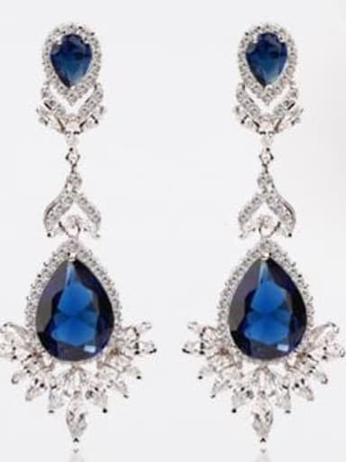 Sapphire t02e04 Copper Cubic Zirconia Geometric Luxury Drop Earring